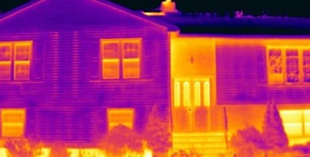 Infrared Camera Photo of the front of a house