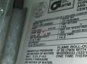 furnace name plate 100k btu